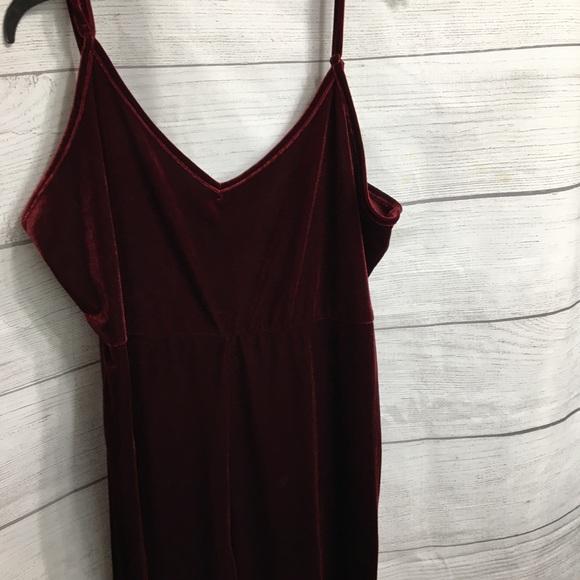 Shein Curve 4x dark red velour jumpsuit-1 piece